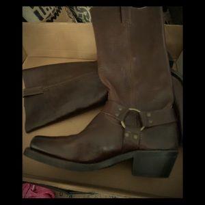 Dark brown harness Frye boots
